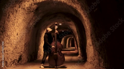 Staande foto Muziekwinkel Man playing cello. Footage. Man plays the cello in the cave. Hipster plays the cello