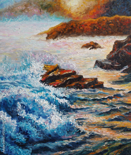 Original oil painting on canvas - Seascape - Sea Counter Light - Impressionism - Modern Art © shvets_tetiana