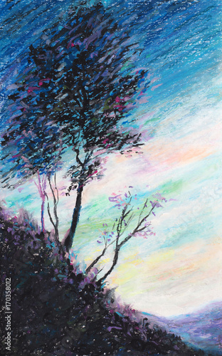 Original oil pastel painting - The Tree and The Sky - Impressionism - Modern Art © shvets_tetiana
