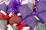 Lavender organza sachets filled with dried organic lavender flower buds