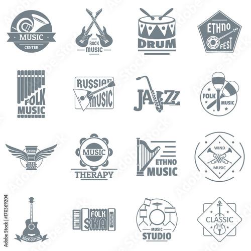 Plakat Instrumenty Muzyczne Ikony Zestaw Ikon Prosty Styl