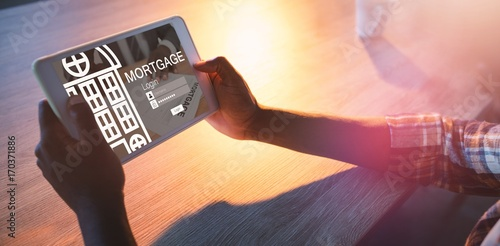 Composite image of graphic image of mortgage web page and