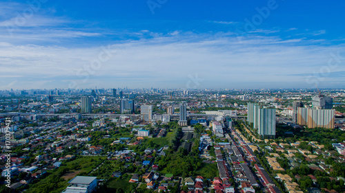 Aerial city view from flying drone at Nonthaburi, Thailand. top view of the city © waranyu