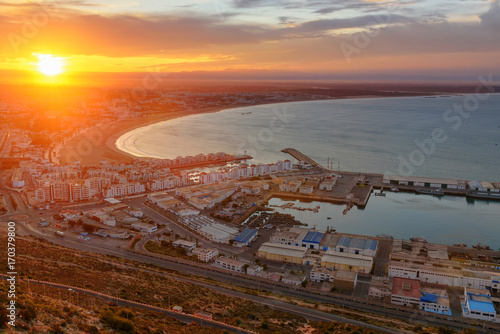 Papiers peints Maroc Beach in Agadir city at sunrise, Morocco