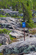 A blue hiking trail sign over rough rocks