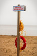 A rescue equipment station at a public beach