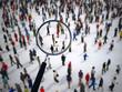 Leinwandbild Motiv Magnifying glass on a large group of people. 3D Rendering
