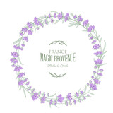 The lavender wreath with text isolated on white. Marriage invitation card. Circle frame with lavender flowers. Vector illustration. - 170388847