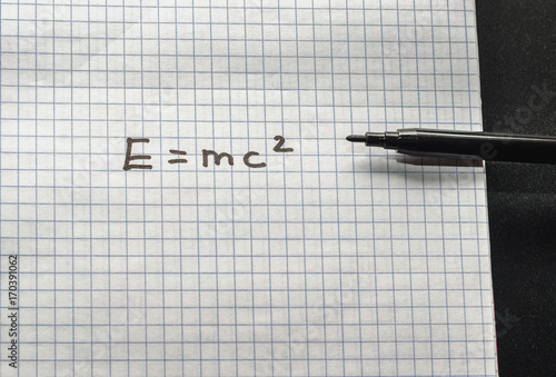 E=MC2 in a school notebook Poster