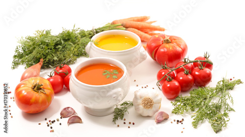 bowl of soup and ingredients - 170391852