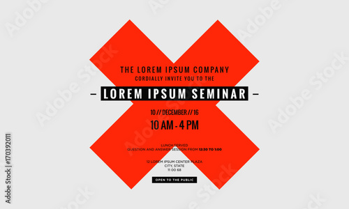 business seminar invitation design template with time date and