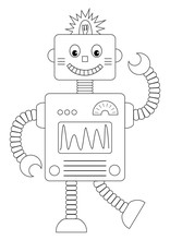 Cartoon Robot  Illustration Sticker