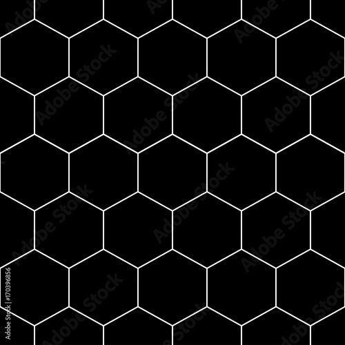 White Honeycomb Hexagon Seamless on Black Background - 170396856