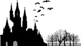 bat silhouettes above large castle isolated on white