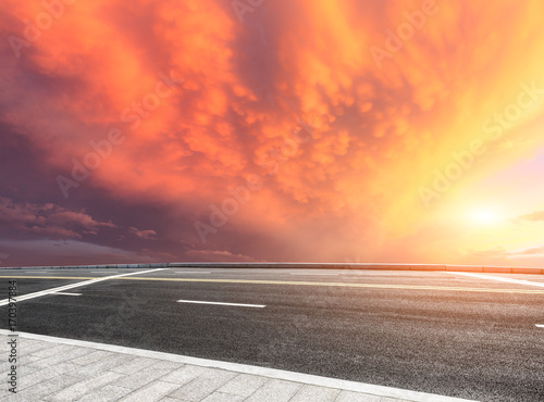 Fotobehang Koraal Beautiful sky cloud and asphalt road landscape