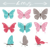 Set of butterflies on white background. Hand lettering. Vector illustration.