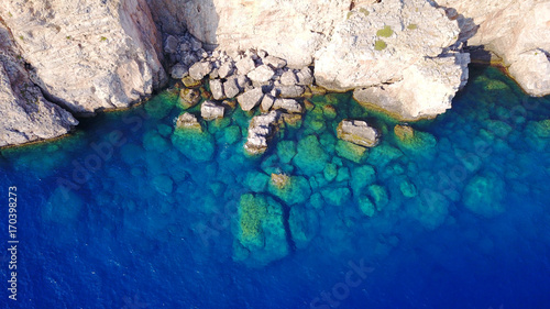 Fotobehang Graffiti Aerial drone photo of famous beach of Lindos with turquoise waters and iconic ancient Acropolis - village of Lindos, Rodos island, Aegean, Dodecanese, Greece