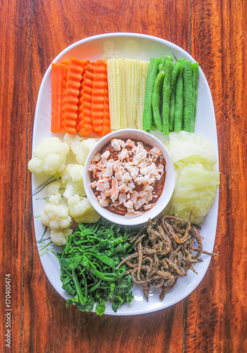 Fotobehang Thailand Mix vegetables and shrimp chilli dip in Thai style