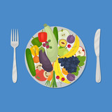 Healthy food. Plate with vegetables and fruits on a blue background. There are carrot, cucumber, tomato, eggplant, zucchini, apple, grapes, cherries and other products in the picture. Vector image. - 170403420