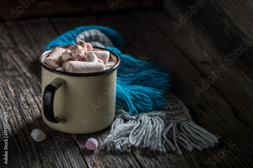 Foto op Plexiglas Chocolade Homemade and hot chocolate with marshmallows for Christmas