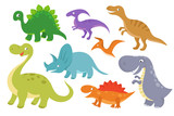 Cute cartoon dinosaurs vector clip art. Funny dino chatacters for baby collection