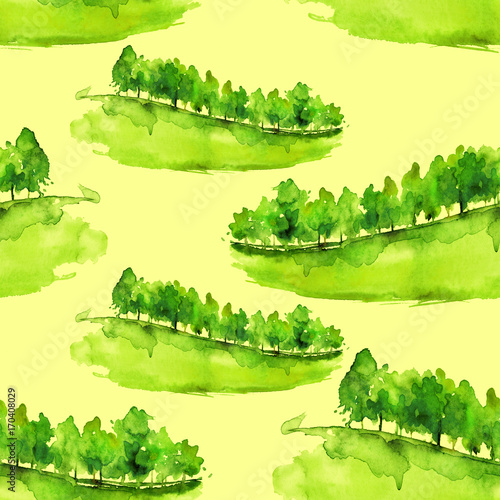 Fotobehang Zwavel geel Seamless watercolor pattern. Autumn, summer landscape, forest, park. Silhouettes of trees and bushes. Green and yellow colors. Drawing on a yellow background