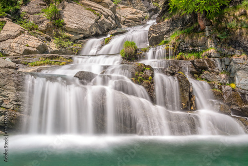 Lillaz waterfalls near Cogne, Gran Paradiso national park, Aosta Valley in the A Poster