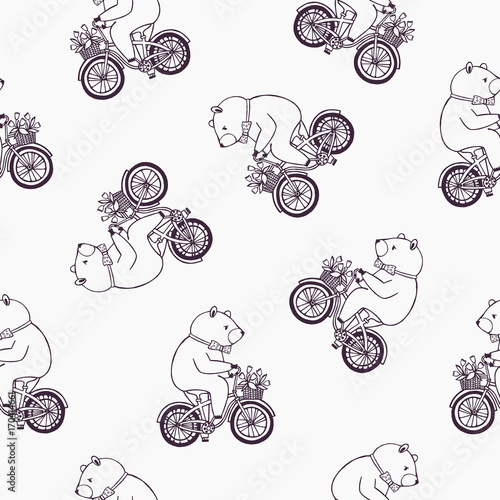 Lovely seamless pattern with funny cartoon bear wearing dotted bow tie and riding bicycle with basket full of tulip flowers. Vector illustration for wallpaper, textile print, wrapping paper, backdrop. - 170414661