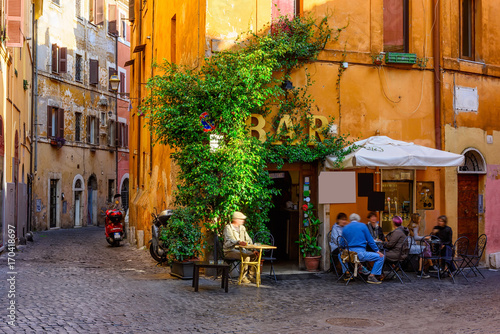Foto op Canvas Rome Cozy old street in Trastevere in Rome, Italy