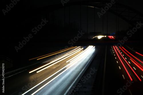 Foto op Plexiglas Nacht snelweg Verkehr