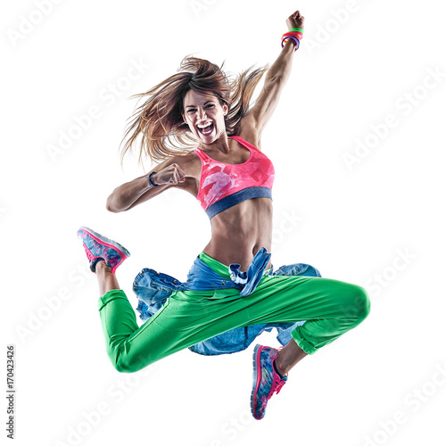 Wall mural one caucasian woman cardio dancers dancing fitness exercising excercises in studio isolated on white background
