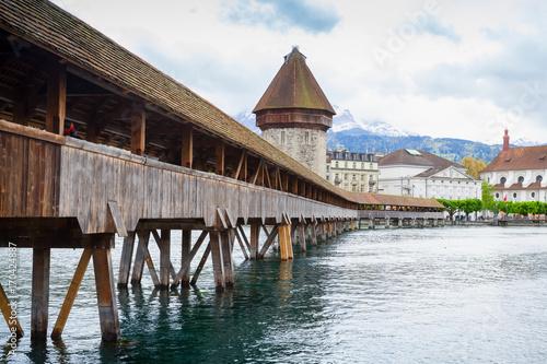Fotobehang Diepbruine Old Lucerne city, central Switzerland