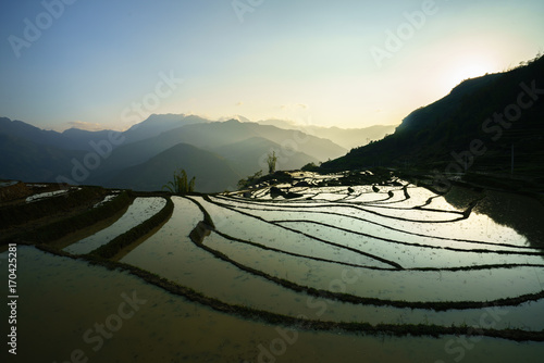 Deurstickers Rijstvelden Terraced rice field in water season, the time before starting grow rice in Y Ty, Lao Cai province, Vietnam