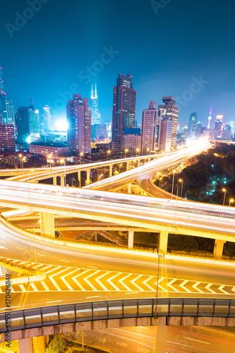 Fotobehang Nacht snelweg city interchange overpass at night in shanghai