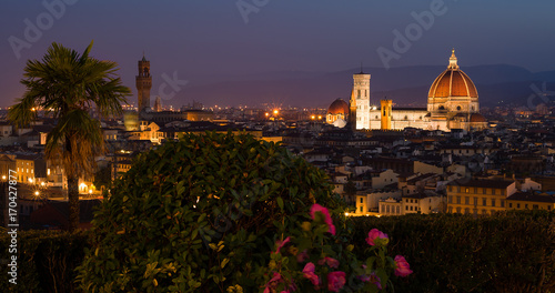 Fotobehang Florence Arnolfo Tower and Santa Maria of Flowers Cathedral from Piazza Michelangelo, Florence, Tuscany, Italy, Europe