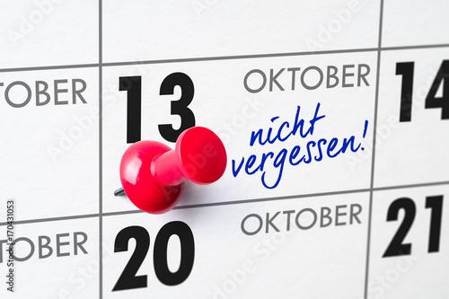 Poster Wandkalender - 13. Oktober