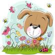 Cute Cartoon Puppy on a meadow