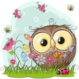 Fototapety Cute Cartoon Owl on a meadow