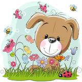 Cute Cartoon Puppy on a meadow - 170431498