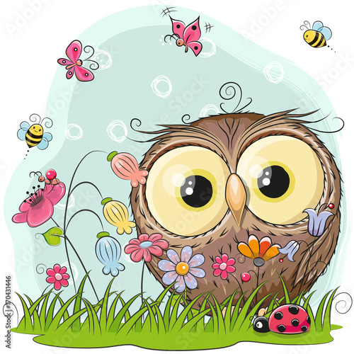 Cute Cartoon Owl on a meadow