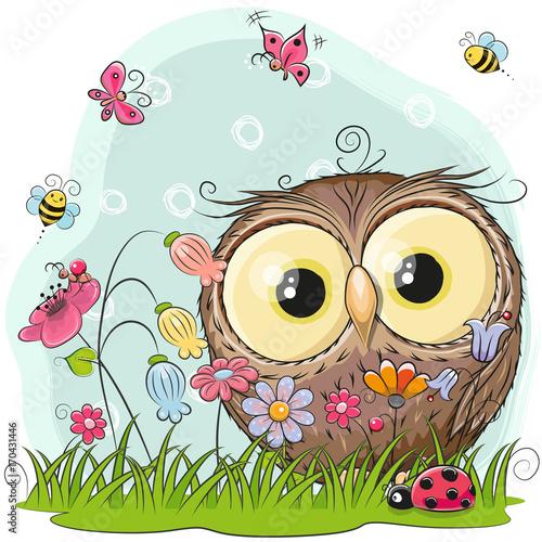 Cute Cartoon Owl on a meadow