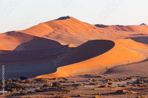 Aluminium Landschappen Namibia, Namib desert sand dunes at sunrise