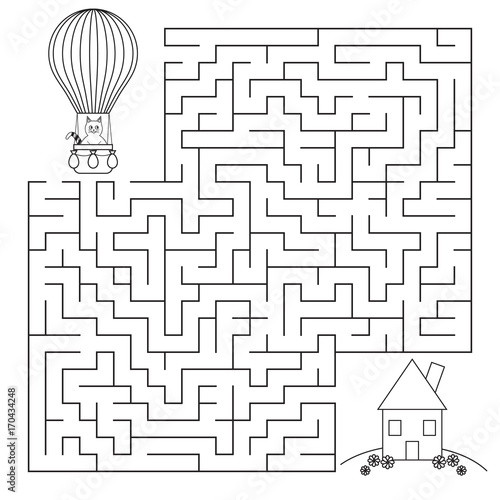 Children's cartoon labyrinth. A cat in a hot air balloon is looking for a house. Coloring page for kid. Vector illustration.