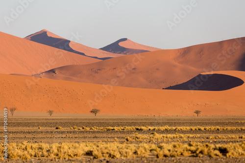 In de dag Oranje eclat Namibia, Namib desert sand dunes at sunrise