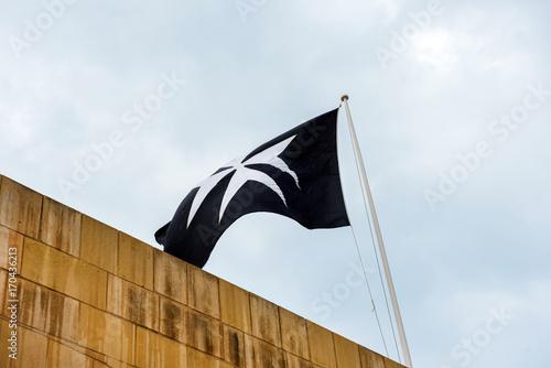Maltese cross on a flag Poster