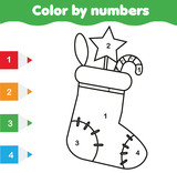 Coloring page with Christmas sock. Color by numbers educational children game, drawing kids activity. New Year holidays theme