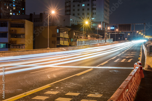 Foto op Canvas Nacht snelweg Traffic at night on a chinese highway, Chengdu, China