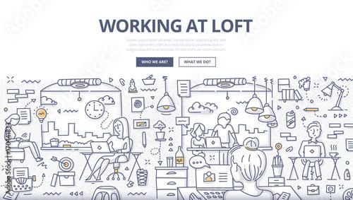 Working at Loft Doodle Concept