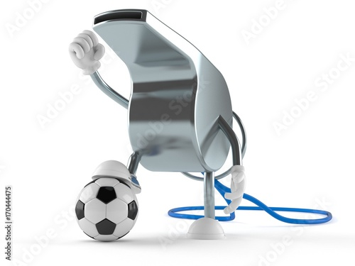 Whistle character with soccer ball