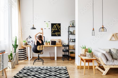 Cozy natural apartment with desk